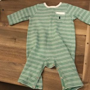 Ralph Lauren green and white striped onesie